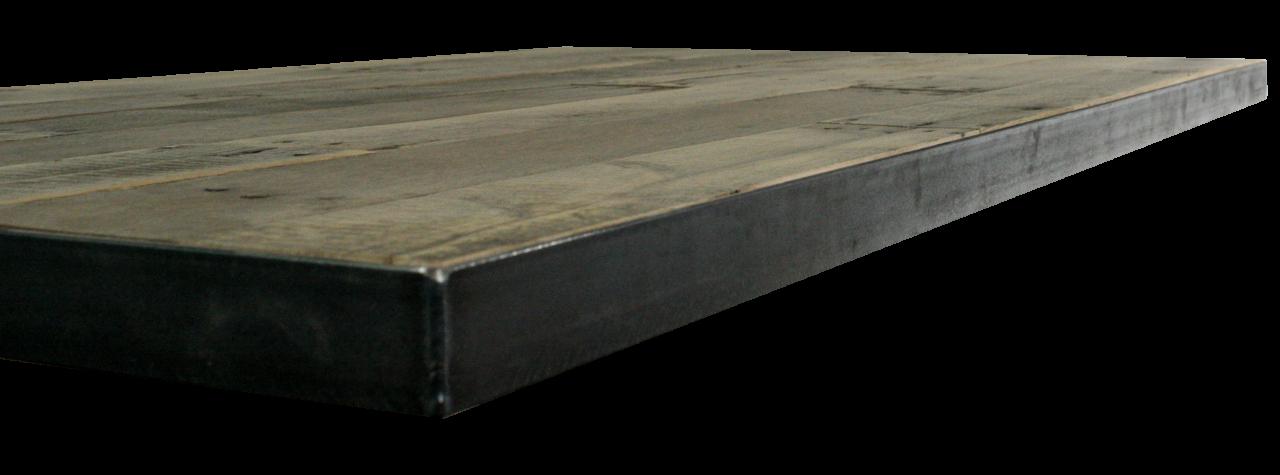 Opgedikt tafelblad op maat met stalen stip onderstel voor